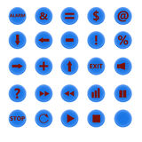 Set of round buttons blue Royalty Free Stock Images