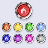 A set of round buttons Home Stock Image