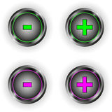 Set of round buttons with plus minus symbol Stock Image