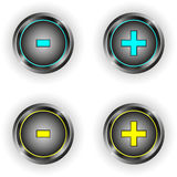 Set of round buttons with plus minus symbol Stock Photo