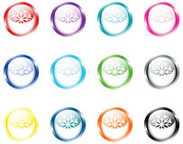Set Of Round Buttons with Snowflakes Royalty Free Stock Photography