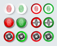 Set of round buttons for web design or applications. Templates of white, red and green color with a fingerprint and a mechanical combination lock for Royalty Free Stock Image