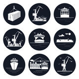Set of Round Cargo Icons Stock Photos
