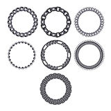 Set of round chain frames - black metal. Royalty Free Stock Photo