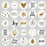Set of round Christmas stickers with golden glitter Stock Photos