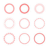 Set of round and circular decorative patterns for design frameworks and banners. Red Stock Photos