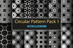 Set of round and circular decorative patterns. Set of 12 round and circular decorative seamless patterns. It can be used for laser cutting and carving. Vector Stock Photo