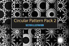 Set of round and circular decorative patterns. Set of 12 round and circular decorative seamless patterns. It can be used for laser cutting and carving. Vector Stock Image
