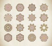 Set of round and circular decorative patterns. Vector set of circular patterns. Vector art Royalty Free Stock Images