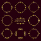 Set of round classic vintage frames Royalty Free Stock Images