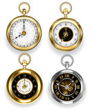Set of round clock. Set of round, gold and silver clock on a white background. Jewelry and Watches Stock Photography