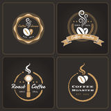 Set of round coffee shop badges and labels Stock Images