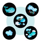 Set of round colored icons whale stock illustration