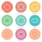 Set of round colorful chakras icons Stock Photo