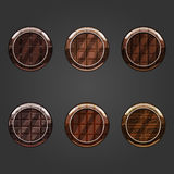 Set of round concave chocolate buttons Stock Image