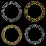 Set of round curly decorative frames. Gold and silver vector illustration