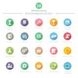 Set Round Długie cienia SEO i rozwoju ikony Ustawia 2 Zdjęcia Royalty Free