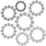 Set of round decorative elements. Elegant baroque frames. Can be used for invitation, greeting cards. Vector illustration Stock Photos