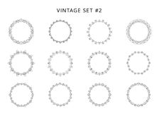 Set of black circular decorative frames. Vector illustration. stock illustration