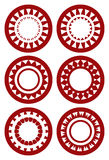 Set of Round Decorative Patterns in Red on White Background Royalty Free Stock Photo