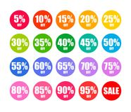 Set of round discount tags in colors of rainbow. Holiday discount offer. Vector. Set of round discount tags 10 15 20 25 30 35 40 45 50 55 60 65 70 75 80 85 90 Royalty Free Stock Images