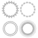 Set of round doodle frames with different patterns. Vector element for invitations, cards, cards and your creativity Stock Image