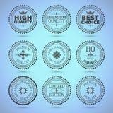 Set round dudniące odznaki royalty ilustracja