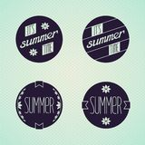 Set of round emblems designed for summer Stock Photography