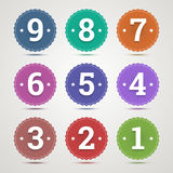 Set of round emblems with numbers. Royalty Free Stock Image