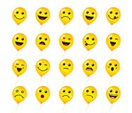 Set of round emoticons or emoji icon on yellow helium balloons. Smile of yellow helium balloon icons vector illustration isolated on white background. Concept Royalty Free Stock Photography