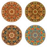 Set of round ethnic design elements Royalty Free Stock Photo