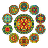 Set Of Round Ethnic Patterns. Set of 11  design elements with abstract ethnic pattern. Collection of symmetric circle tribal ornaments. Decoration elements in Royalty Free Stock Images