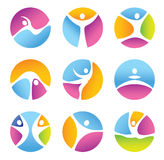 Set of round fitness symbols. Royalty Free Stock Photos