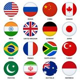 Set of round flags buttons - 1 Royalty Free Stock Image