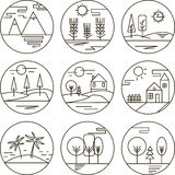 Set of round flat ecological icons. Royalty Free Stock Photography