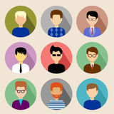 Set of round flat icons with men. Royalty Free Stock Photo
