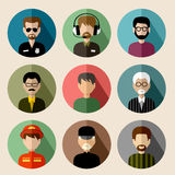 Set of round flat icons with men. Stock Photography