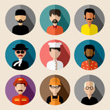 Set of round flat icons with men. Stock Photos