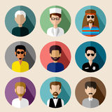 Set of round flat icons with men. Royalty Free Stock Photos