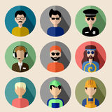 Set of round flat icons with men. Royalty Free Stock Photography