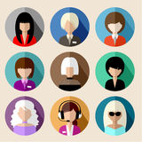 Set of round flat icons with women. Royalty Free Stock Image