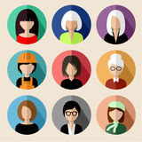 Set of round flat icons with women. Royalty Free Stock Photography