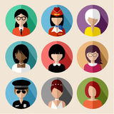 Set of round flat icons with women. Stock Photo