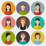 Set of round flat icons with women Stock Image
