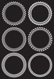 Set of 6 round frames on the black background. Set of 6 round frames on the black background Royalty Free Stock Image