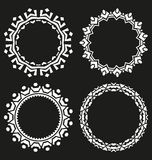 Set of round frames on a black background Royalty Free Stock Photo