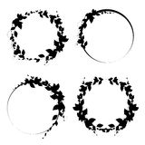 Set of round frames. black framework with leaves. Royalty Free Stock Photography