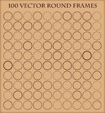 Set of 100  round frames in different styles. Royalty Free Stock Photos