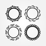 Set of round frames drawn by hand with a brush. Doodle, sketch, grunge. Stock Photo