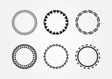 Set of round frames drawn by hand. Doodle, sketch. Six isolated black borders. Vector illustration Royalty Free Stock Image